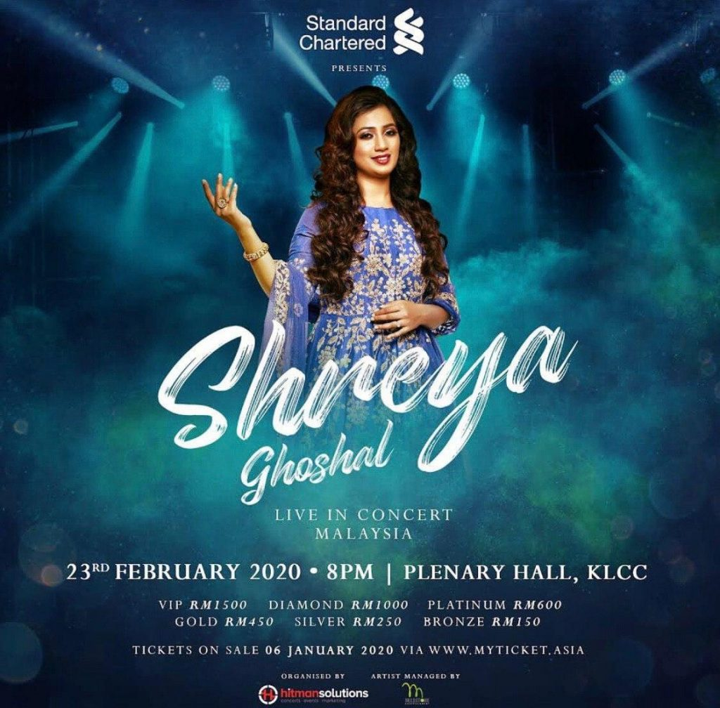 Shreya Ghoshal Live in Concert Malaysia 2020 ticket